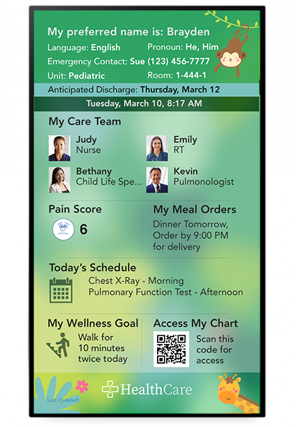 A digital whiteboard display featuring pediatric images and SONIFI Health interface including a QR code