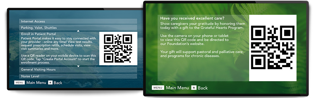 QR codes on interactive television screens